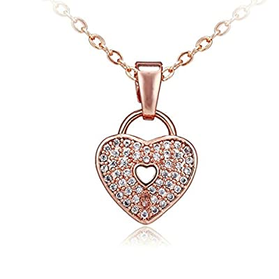 Epinki White Gold Plated Women Girls Elegant Hollow Heart Crystal Inlaid Necklace