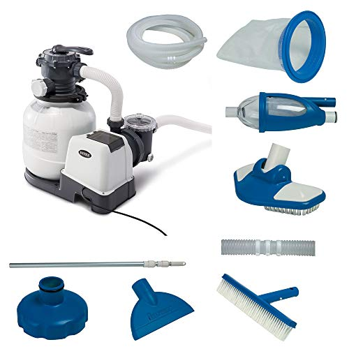 Intex 2100 GPH Above Ground Pool Sand Filter Pump w/Deluxe Pool Maintenance Kit