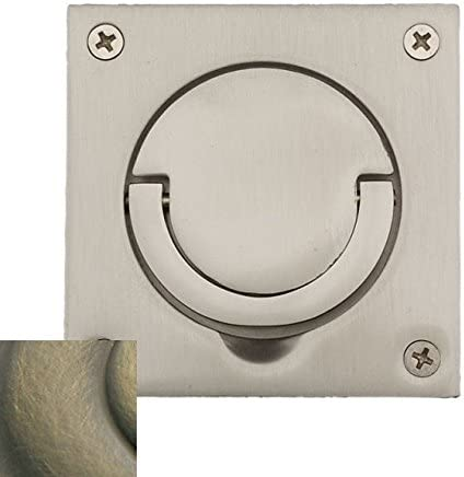 Baldwin 0397050SOL Flush Ring Pull with Solid Spindle Antique Brass Top Notch Distributors Inc. Home Improvement