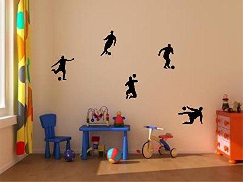 Stickerkoenig Kinderzimmer Wandtattoo Fußballer & Fußbälle 5er Set Soccer Größe 1 FARBE: Schwarz