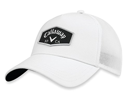 Callaway Golf 2018 Tour Authentic Adjustable Trucker Hat, White/White (White Hat Callaway)