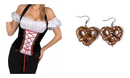 Nicky Bigs Novelties Oktoberfest German Beer Garden Girl Corset Top Bavarian Maid Adult Costume Shirt