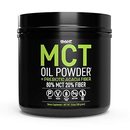 MCT Oil Powder Plus Prebiotic Acacia Fiber from Non GMO Coconuts, Keto Friendly, Unflavored 30 Servings