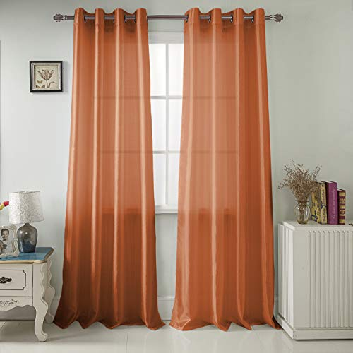 - RT Designers Collection Nancy Faux Silk 54 x 84 in. Grommet Curtain Panel, Neon Orange