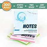 GeckoPadz Static Charged Dry Erase Sticky Notes   Magnetic Self Stick to Any Surface   NO Adhesive Residue   Static Cling Lasts Longer Than Post Its   3-Pack, 300 Dry-Erase Surface Sheets   4x4 Inch