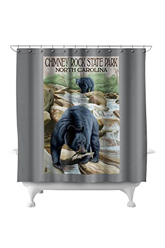 Chimney Rock State Park, NC - Bear Fishing in Stream (71x74 Polyester Shower Curtain)