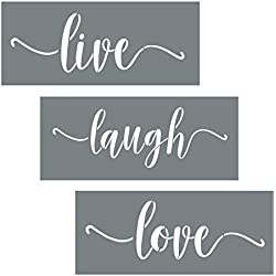 Live Laugh Love Quote Stencils - 3 Modern Script Stencils - Wall Stencil Set For Making DIY Wood Sign Decor - Paint Stencils Are Reusable Stencils - DIY Stencils for Painting on Wood + More