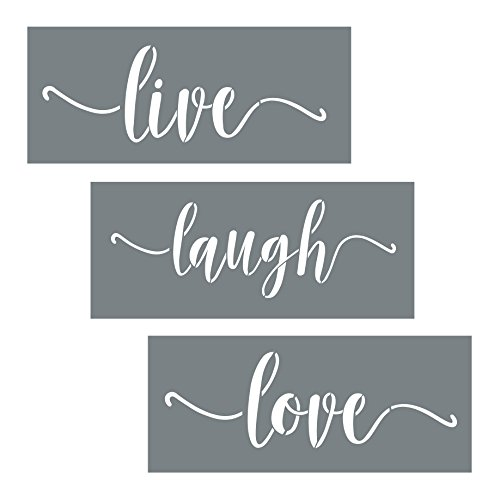 Live Laugh Love Quote Stencils - 3 Modern Script Stencils - Wall Stencil Set For Making DIY Wood Sign Decor - Paint Stencils Are Reusable Stencils - DIY Stencils for Painting on Wood + More (Live Laugh Love Learn)