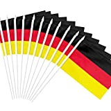 Anley Germany Stick Flag, German 5x8 inch (12 X 20cm) HandHeld Mini Flag With 12' (30cm) White Solid Pole - Vivid Color and Fade Resistant - 5 x 8 inch Hand Held Stick Flags With Spear Top (1 Dozen)