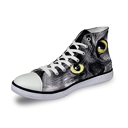 Canvas Mens High HUGSIDEA Top Comfort Trainers Face Sneakers US9 Kitty Classic Shoes Cat YxAqIwZzA