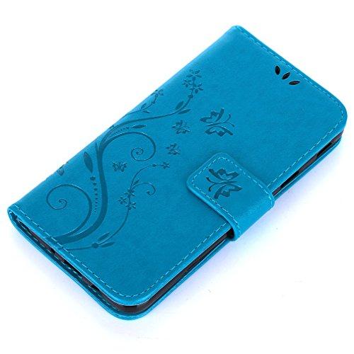 Yiizy Samsung Galaxy J5 Prime / G570 Custodia Cover, Erba Fiore Design Sottile Flip Portafoglio PU Pelle Cuoio Copertura Shell Case Slot Schede Cavalletto Stile Libro Bumper Protettivo Borsa (Blu)