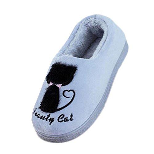 Pantoufles d'intérieur d'hiver Pantoufles de sol Cute Cat Velvet Mules Pantoufles de coton antidérapant Chaussures-Silver Grey