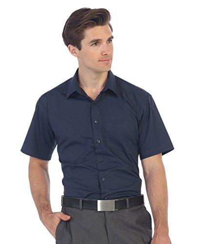 (Gioberti Men's Short Sleeve Solid Dress Shirt, Navy, X-Large)