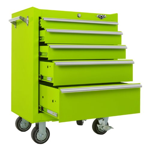 Viper Tool Storage LB2605R 26-Inch 5-Drawer 18G Steel Rolling Cabinet, Lime Green by Viper Tool Storage