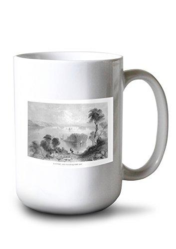 Lantern Press Eastport, Maine - Panoramic View of Passamaquoddy Bay and Town in Distance (15oz White Ceramic Mug)