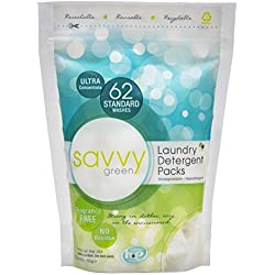 Savvy Green 62 Standard Wash Eco Clean Laundry Detergent Packs, 24.8 Ounce