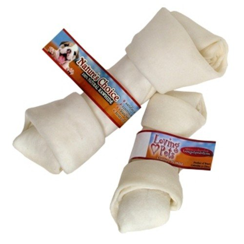 Loving Pets Dlv4106 10-Pack Natures Choice Natural Knotted Rawhide Bone For Dogs, 9-Inch, White
