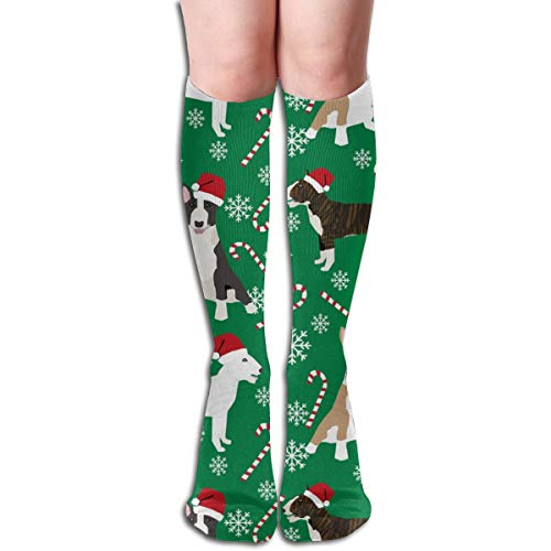 (Bull Terrier Peppermint Stick Candy Canes Compression Socks Adult Knee High Sock Gym Outdoor Socks 50cm 19.7inch)