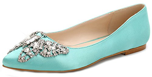 Light Women's Toe Rhinestones Flat Court Pointed Low Top Blue Dressy On Shoes Slip Aisun Atf7f