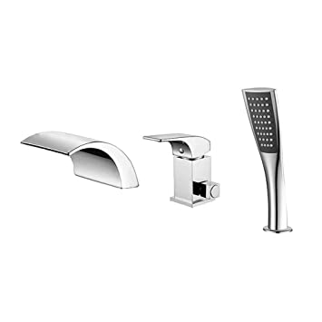 Amazoncom Plumber 3 Hole Waterfall Bathroom Faucet Set With