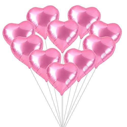 Pink Heart Shaped Balloons Kit - Pack of 10 - Valentines Day Decorations for Party - Valentine Balloons - Foil Mylar Heart Balloons for Birthday, Bridal Baby Shower - Near Rose Gold Color Balloons ()
