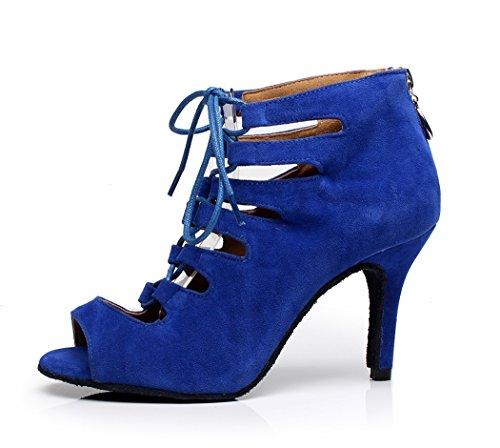 Tanzschuhen Damen aus Wildleder mit Knöchel Minitoo Blau Schnürschuh FYdUwAnYxq
