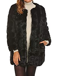 Women's Long Faux Fur Coat Winter Warm Vintage Thick Fox Fur Jacket Outerwear