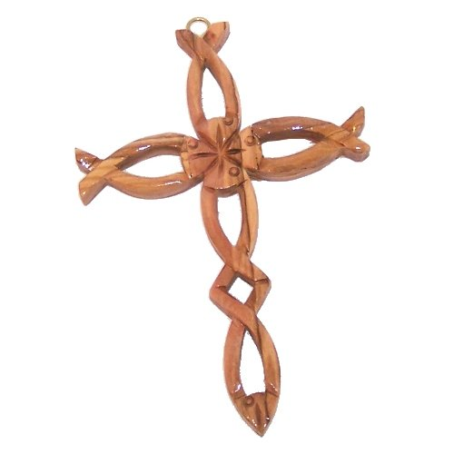 Olive wood Cross made with Fish ( First Chriswtianity symbol ) shapes - 16cm - 6.4 inches with Certificate and Lord's prayer card