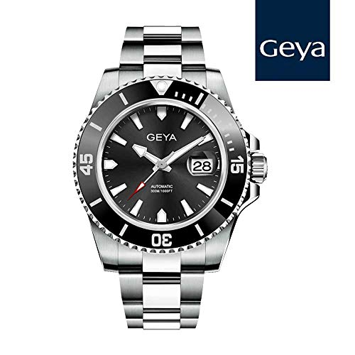 Geya Fashion Men's Mechanical Watch Waterproof Analog Date Wrist Watch with Stainless Steel Band G78022GWK, -