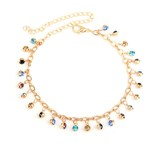 - Tgirls Boho Vintage Rhinestone Anklet Bracelet Beach Foot Chain Ankle Accessories Jewelry for Women and Girls (Gold)