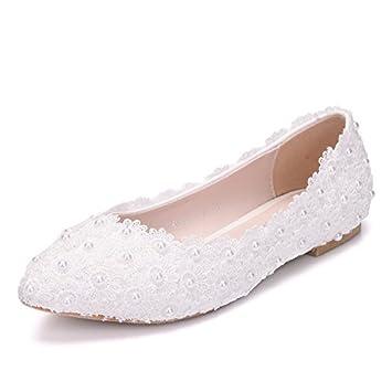 Mme blanc dentelle chaussures de mariage chaussures de mariée chaussures plates JINGERMEI