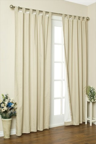 Commonwealth Home Fashions 70292-153-103-54 Thermalogic Insulated Solid Color Tab Top Curtain Pairs 54 in., Natural