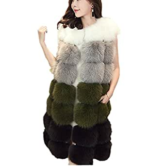 Women Winter Coat Jackets Women Faux Fox Fur Vest Brand Long Fur Vests Fashion Luxury Fur Coat (4XL, Green)
