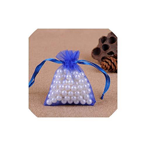 50Pcs 7X9Cm 9X12Cm Transparent Organza Bags Christmas Halloween Gift Box Packaging Gift Bags Wedding Candy Box Chocolate Bags,Blue,10X15Cm