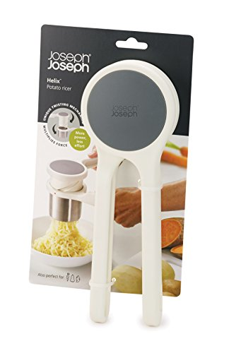 Joseph Joseph 20100 Helix Potato Ricer Masher Ergonomic Twist-Action Hand Manual Stainless Steel For Mashed Potato, White