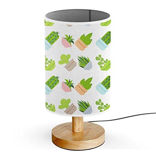 ArtLights - Wood Base Decoration Desk / Table / Bedside Lamp [ Cactus Flat Design Pattern ]