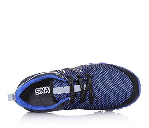 SNAPPY - Scarpa ginnica stringata blu, in tessuto, con logo laterale, cuciture a vista e suola in gomma, Bambina, Ragazza, Donna