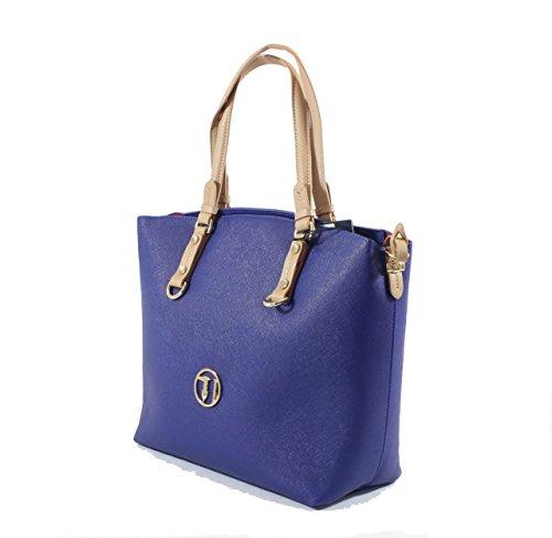 TRUSSARDI JEANS Borsa shopping tote bag BANGKOK con foulard Bluette