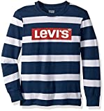 Levi's Boys' Big Long Sleeve Graphic T-Shirt, Dress Blues Striped, XL
