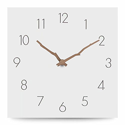 FlorLife Silent Square Wall Clock - Modern Wood 12-Inch Non-Ticking Digital Quiet Sweep Decorative Vintage Wooden Clocks for Office/Kitchen/Bedroom/Living Room by FlorLife