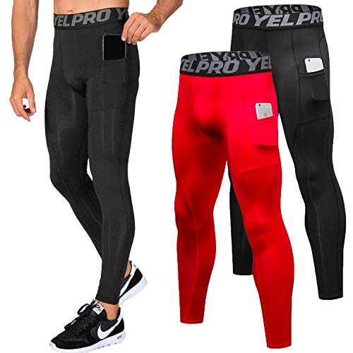 - Lavento Men's Compression Pants Baselayer Cool Dry Pocket Running Ankle Leggings Active Tights (2 Pack-3911 Black/Red,Medium)