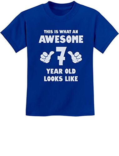 Price comparison product image TeeStars - This Is What an Awesome 7 Year Old Looks Like Youth Kids T-Shirt Small Blue