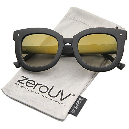zeroUV - Womens Oversized Butterfly Mirrored Lens Round Cat Eye Sunglasses 67mm (Matte Black / - Eye Sunglasses Cat Farrow Linda