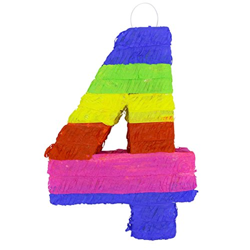 LYTIO - Multicolor Paper 3D Number Four Pinata (Piñata) – Great for Any Party, Décor, Photo Prop. by LYTIO