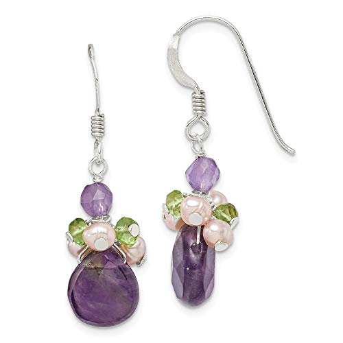 925 Sterling Silver Amethyst/peridot/peach Freshwater Cultured Pearl Drop Dangle Chandelier Earrings Fine Jewelry Gifts For Women For Her