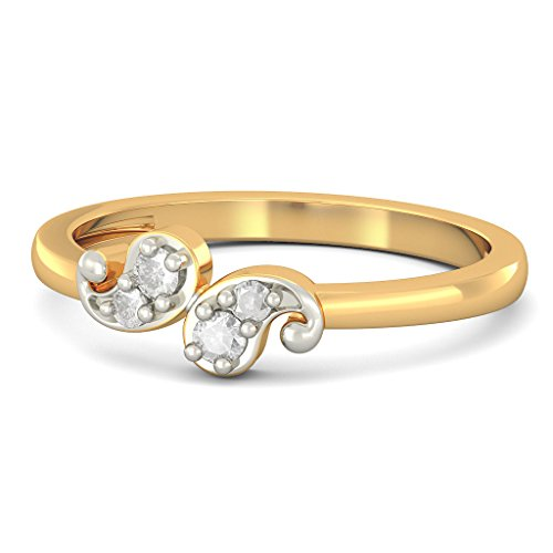 14K Or jaune, 0,1carat Diamant Blanc (IJ | SI) en diamant