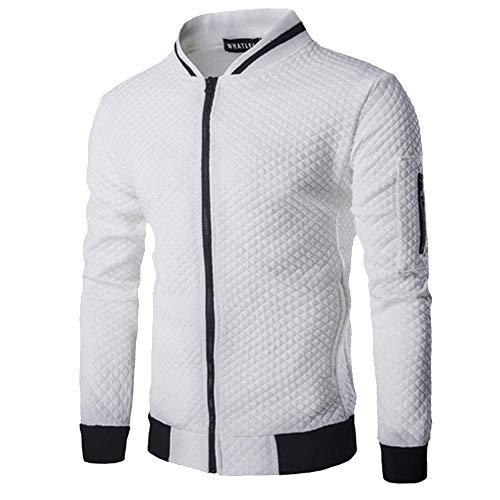 Pull Blouson Kasen shirt Veste Longues Bomber Zippé Homme Manches Sweat Blanc Uni Sport zaXxaqUr