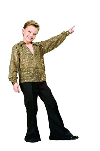 OvedcRay 1970S 70'S Disco Fever Child Boy Costume Gold Silver Sequin Shirt Costumes