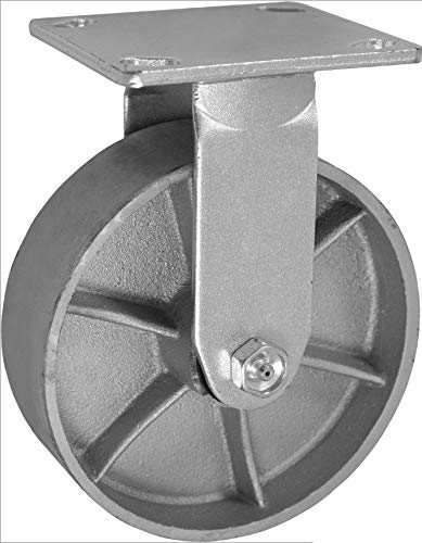 """CasterHQ 8"""" X 2"""" INCH Rigid/Fixed Caster - SEMI-Steel CAST Iron Wheel - 1250 LBS Capacity - 8 inch x 2 inch - Heavy Duty Industrial/Commercial 9-1/2"""" Overall Height"""