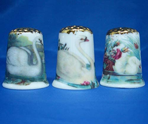 Large Cats Gold Top Birchcroft Porcelain China Collectable Set of Three Thimbles